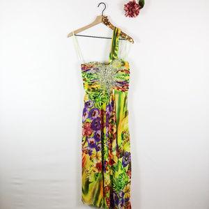 [BETSY ADAM] Tropical One Shoulder Maxi Dress